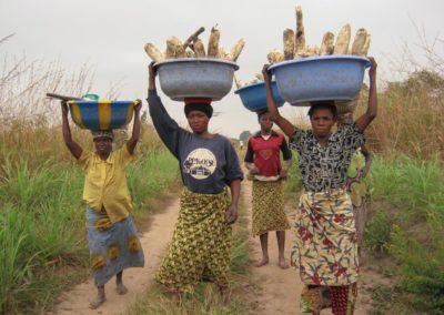 Femmes du village rentrant des plantations avec des tubercules de manioc ©LesAteliersPIXEL